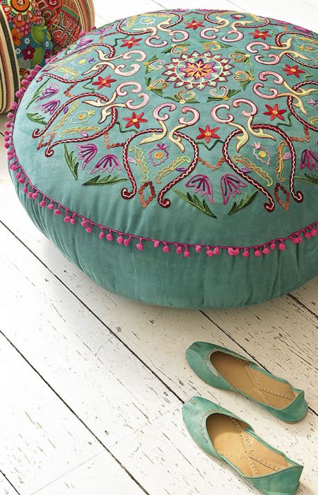 Embroidered floor pillow