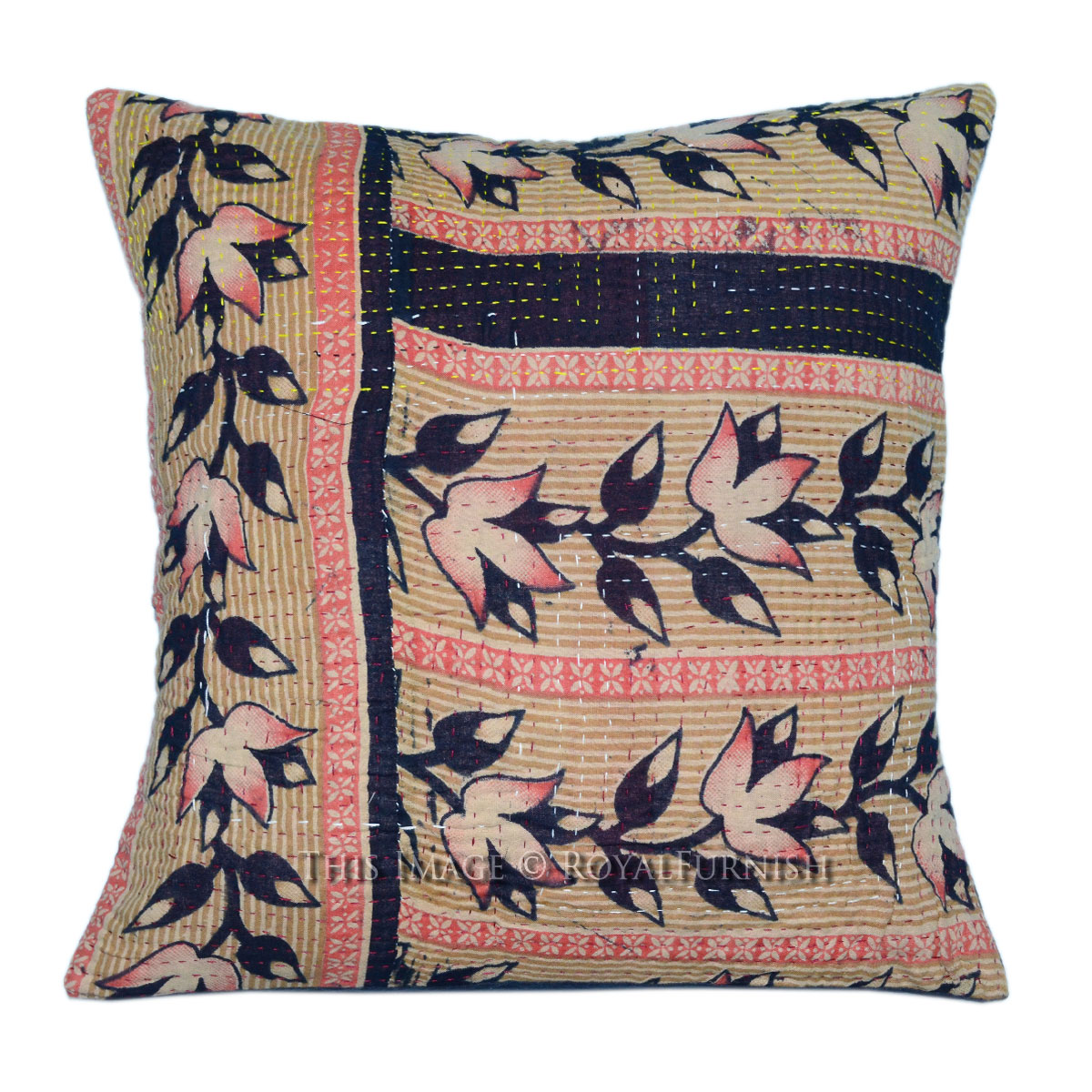 kantha embroidered pillow