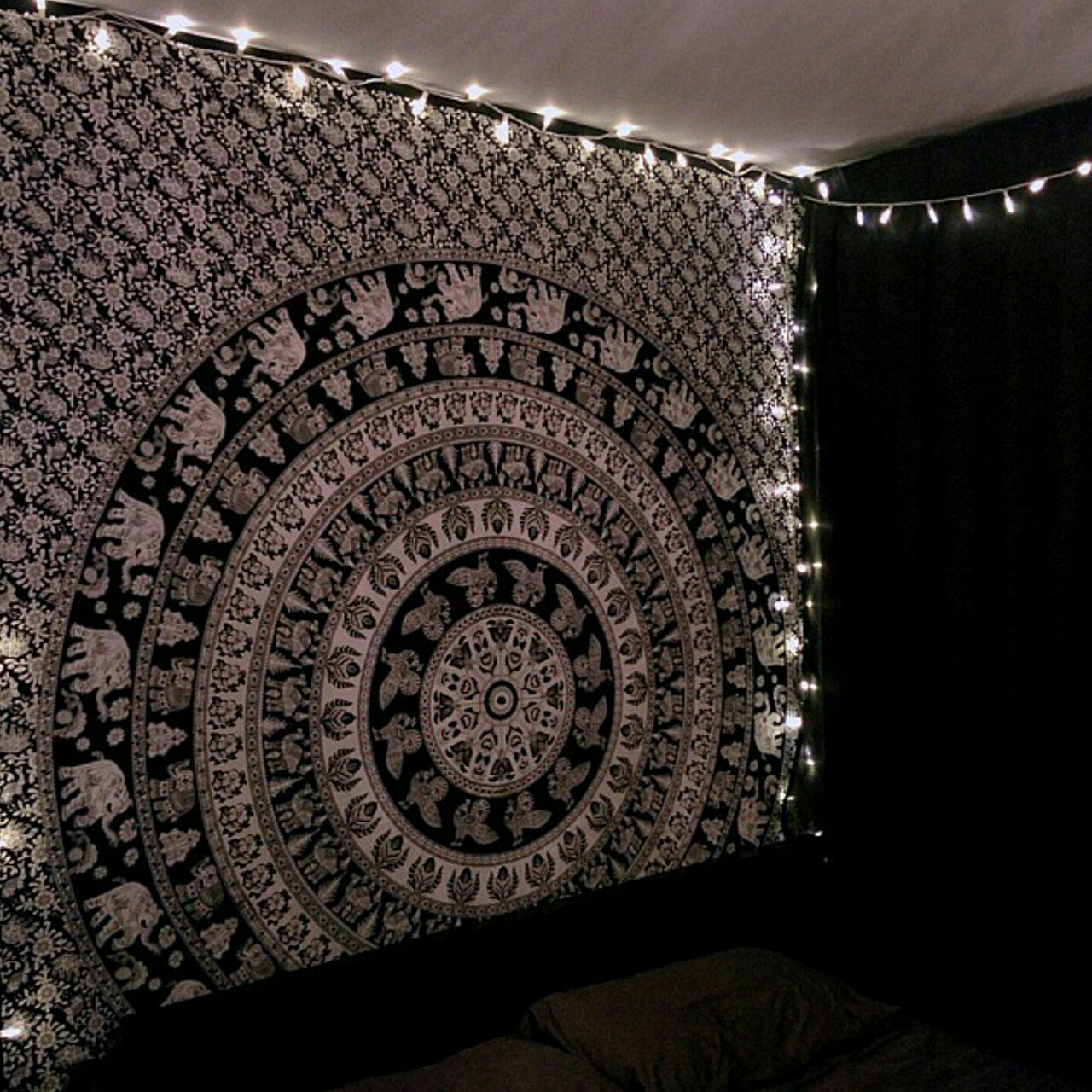 Black and White Elephant Mandala Tapestry 01
