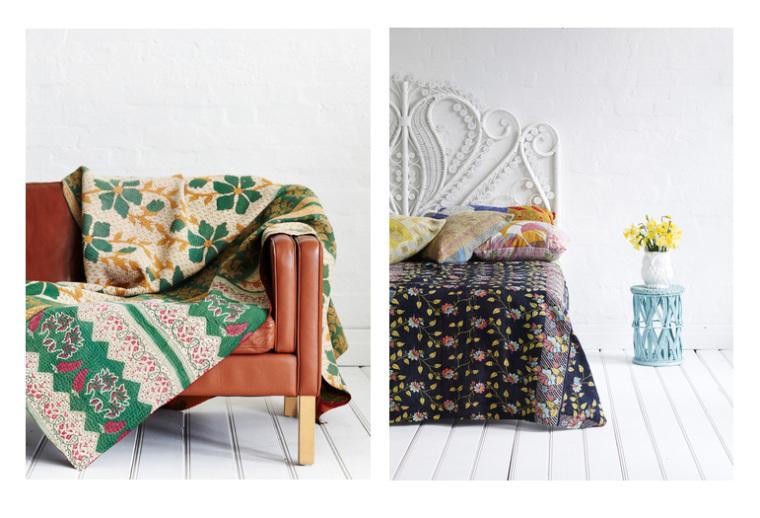 kantha quilts sofa