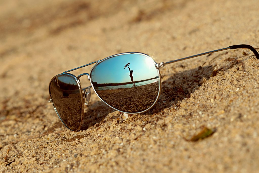 eye wear on beach