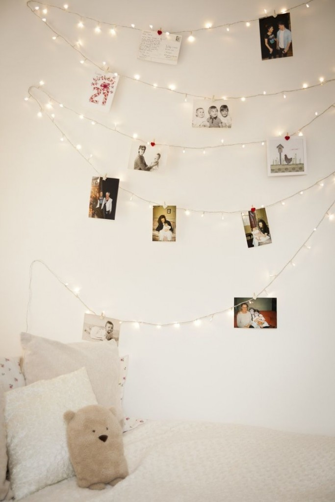 hang-pictures-bedroom-wall-string-lighting
