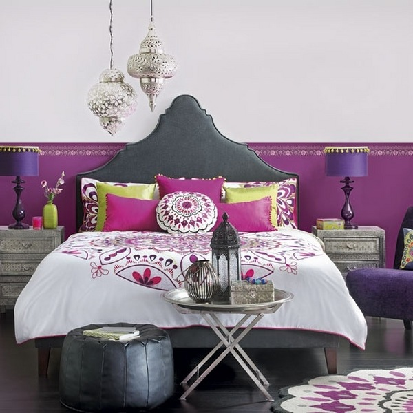 bohemian-bedroom-ideas-boho bedroom-designs-purple-gray-colors
