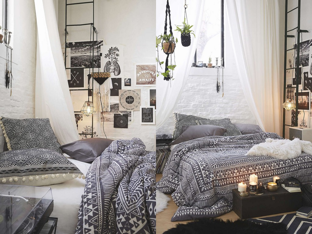 Bohemian style bedroom decorating ideas royal furnish for Designer inspired bedding