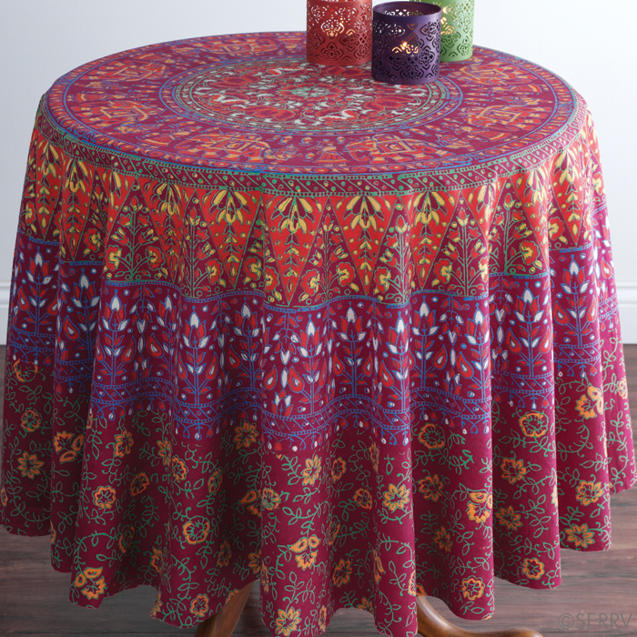 elephants-plum-round-tablecloth-serrv