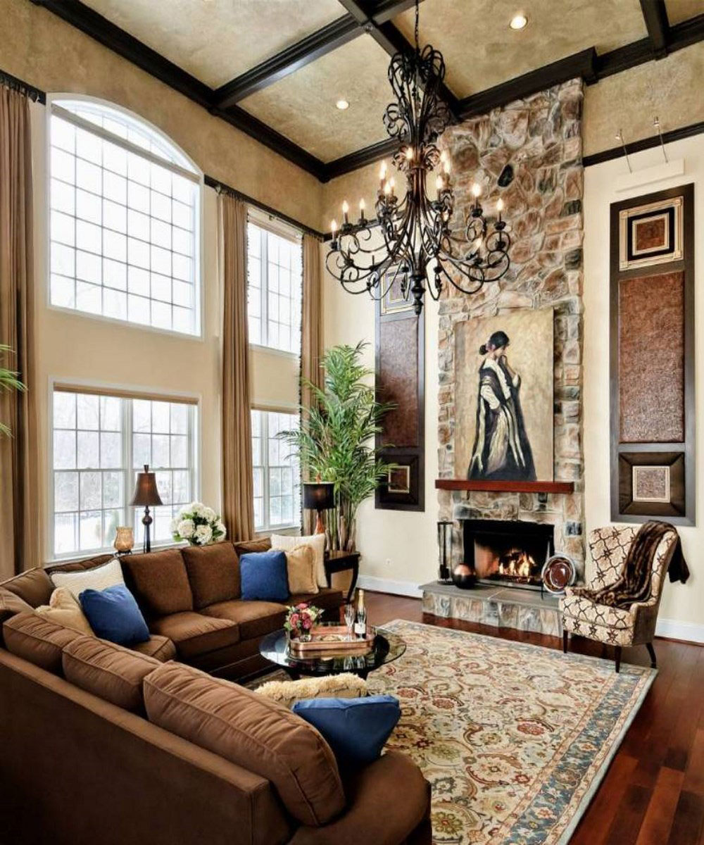 Small living room decorating idea royal furnish for Tall ceiling decor