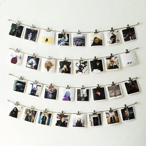 instagram pictures on bedroom wall
