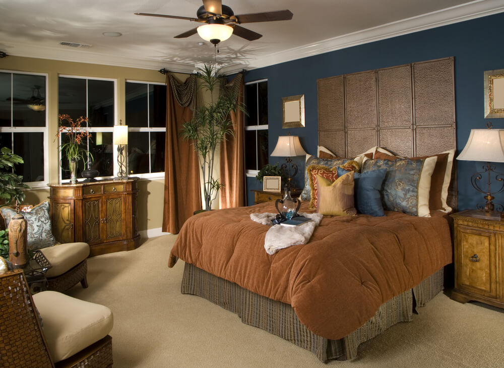 summer look for bedroom with antique furniture