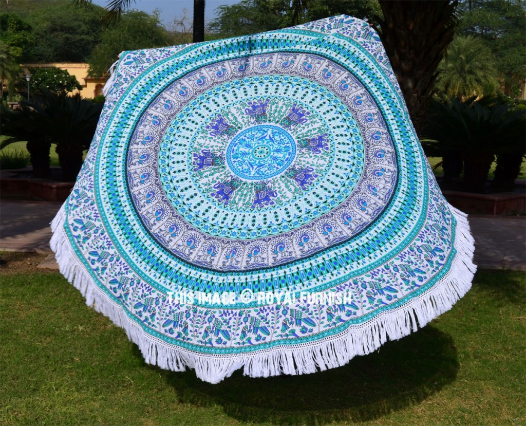 Birds mandala circle beach blanket