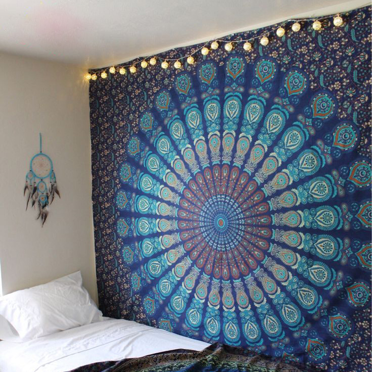 Hippie Mandala Tapestry Indian Blue Floral Psychedelic Medallion Tapestry Wall Hanging