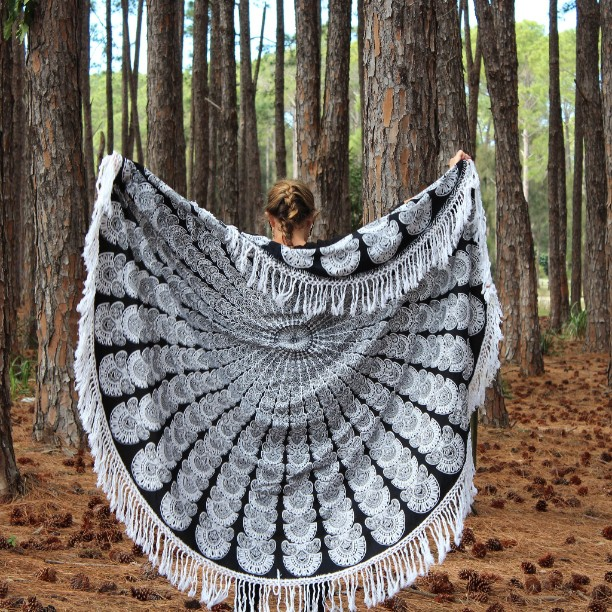 black and white beach blanket