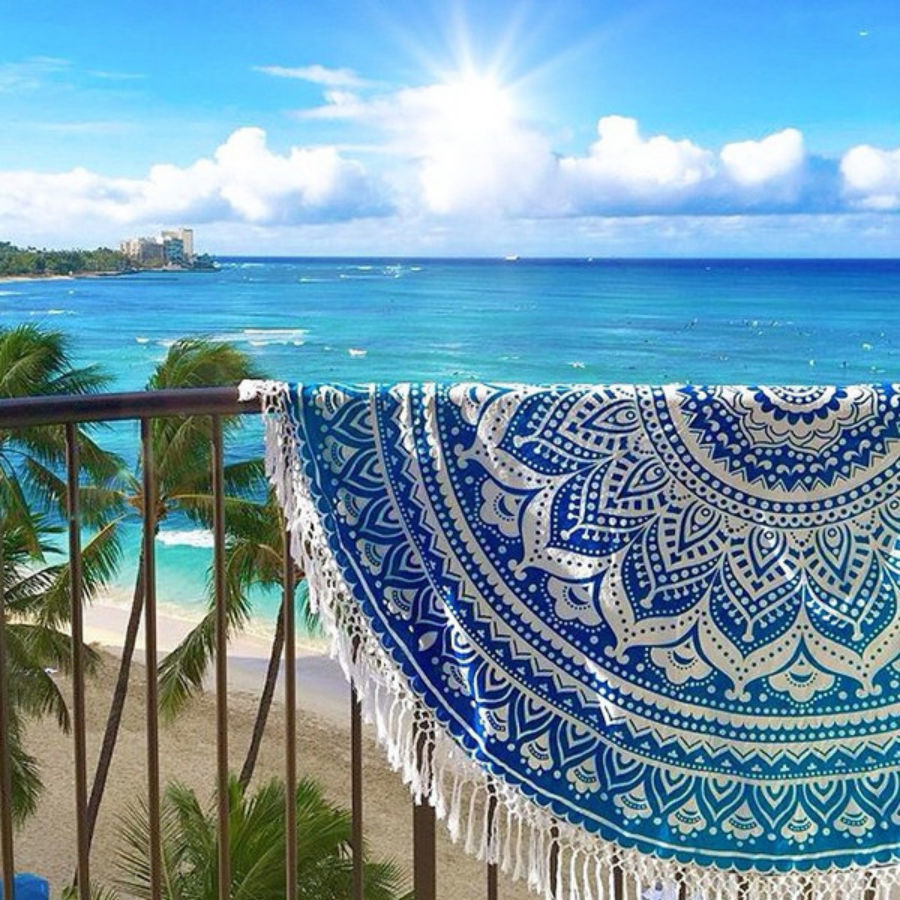 blue ombre beach blanket
